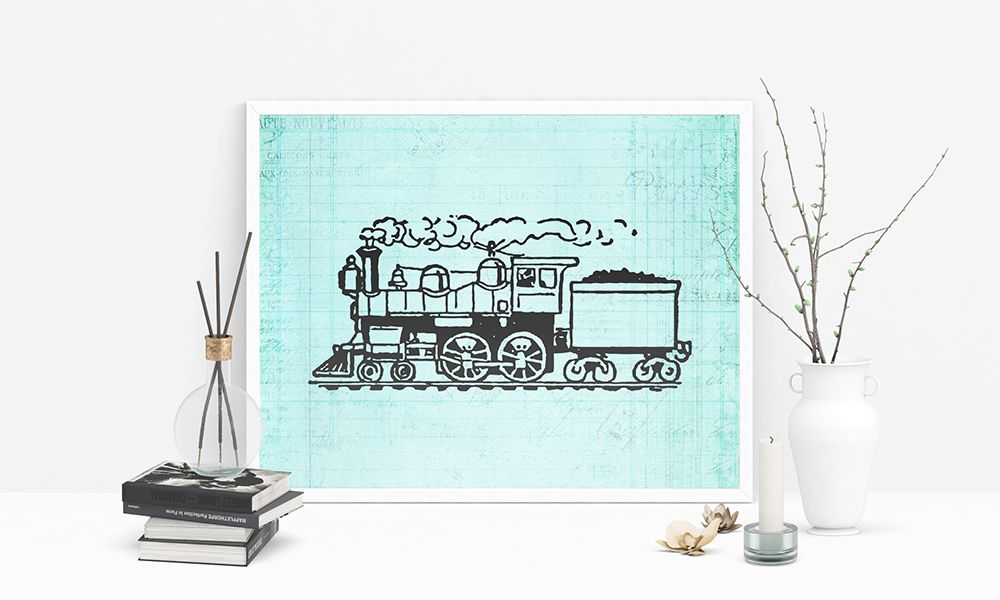 Vintage Train Print Cute Locomotive Illustration Railroad Wall Art Poster Or Print With A Vintage Teal Note Pap Train Wall Art Wall Art Prints Rooms Home Decor