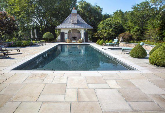 pool deck with natural stone from unilock patio pinterest
