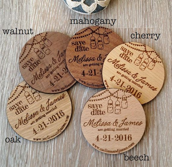 Wooden Save The Date Magnets Mason Jar By Corkcountrycottage Diy