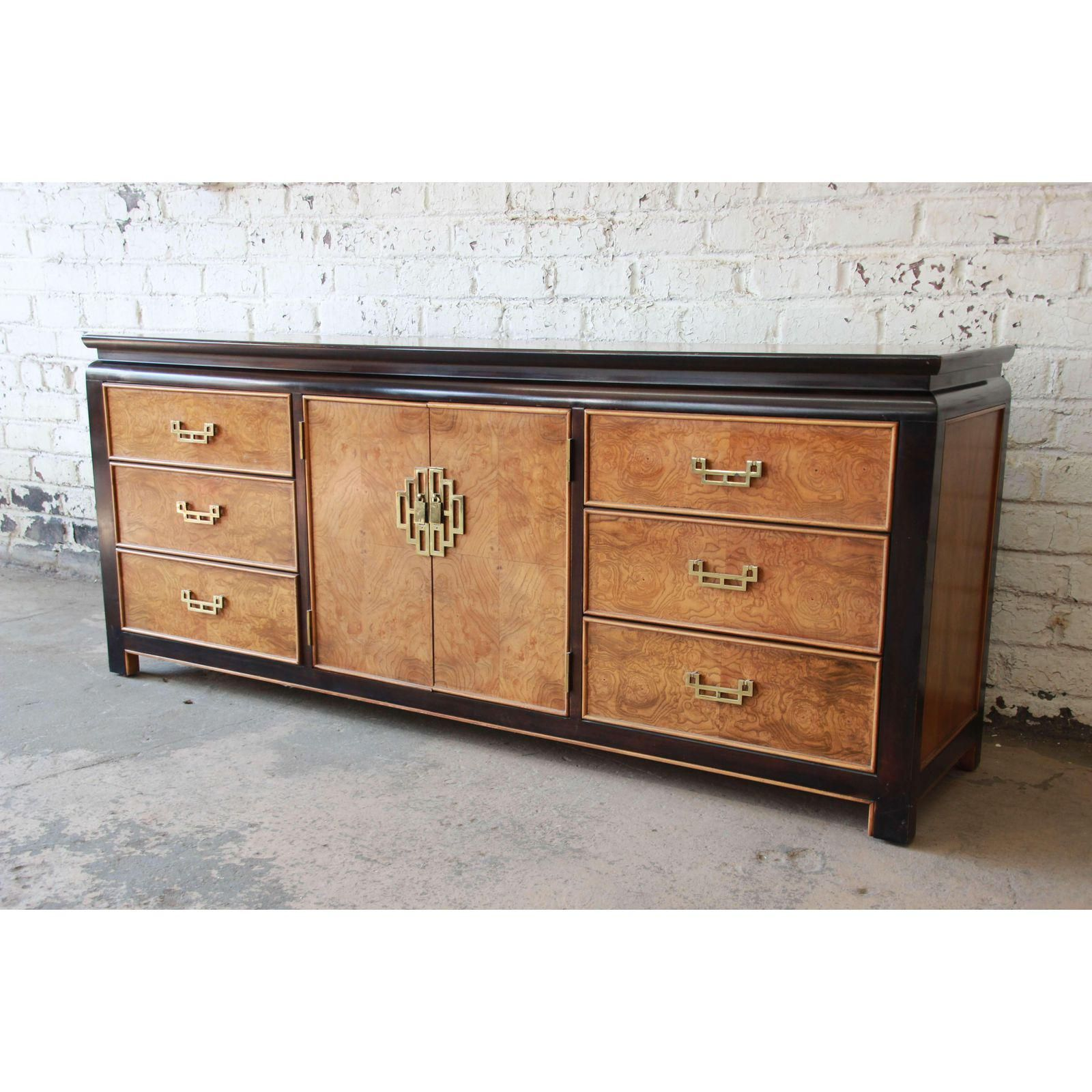 Century Furniture Burlwood and Black Lacquer Chin Hua Chinoiserie