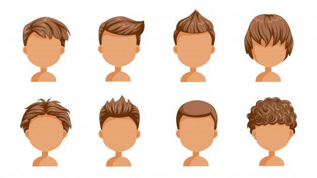 Boy Hair Set Face Of A Little Boy Cute Hairstyle Variety Child Modern Fashion For Assortment Long Short Curly H Hair Clipart Boy Hairstyles Cartoon Hair