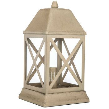 Distressed Cream Metal Lantern Uplight Sweet Details