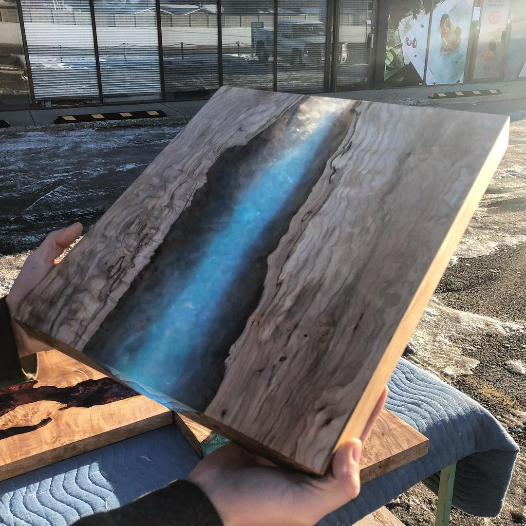 Clear Blue Resin Art Which Colour Are You Waiting For Blackforestwoodco Wood Canada Design