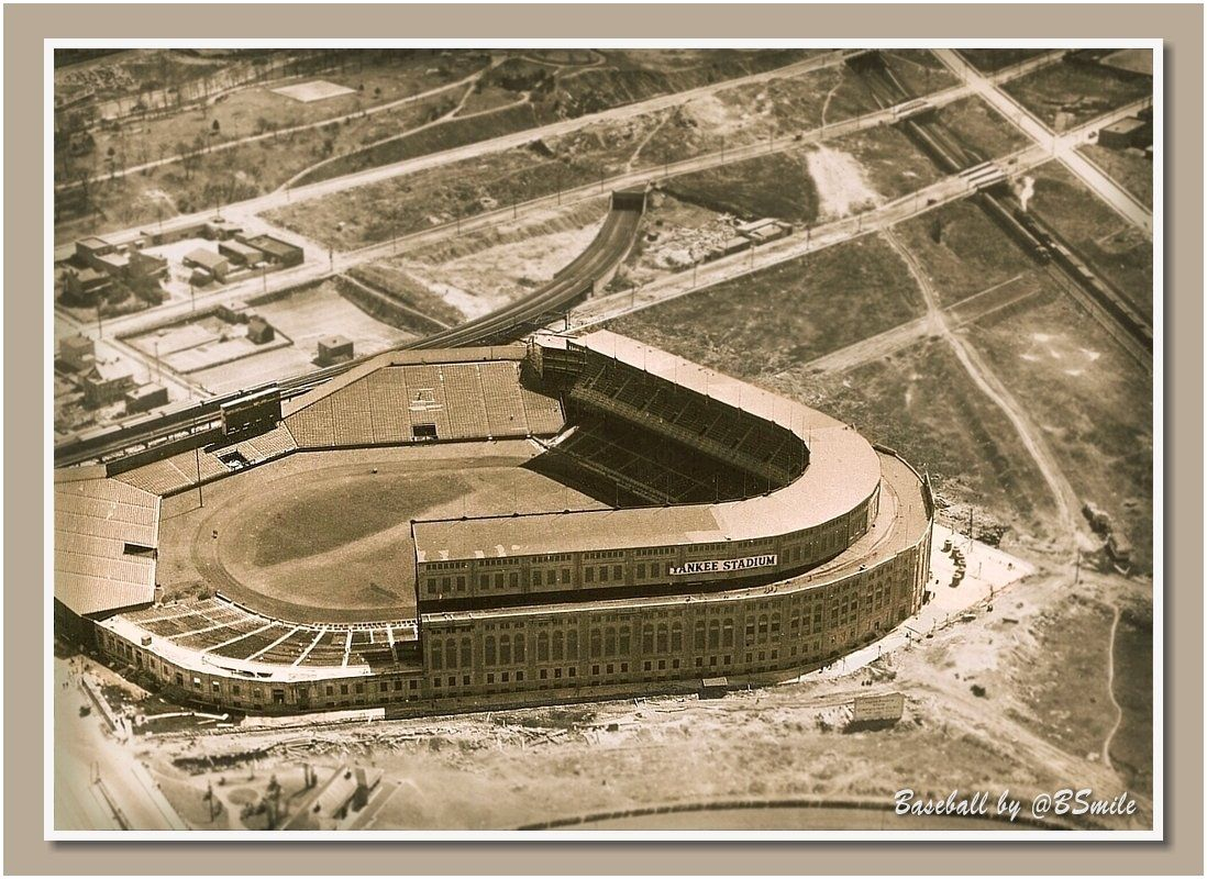 Aerial View Of The Original Yankee Stadium 1923 Construction Workers Are Still Putting The Finishing Touches On The Brand New Ballpark Fo