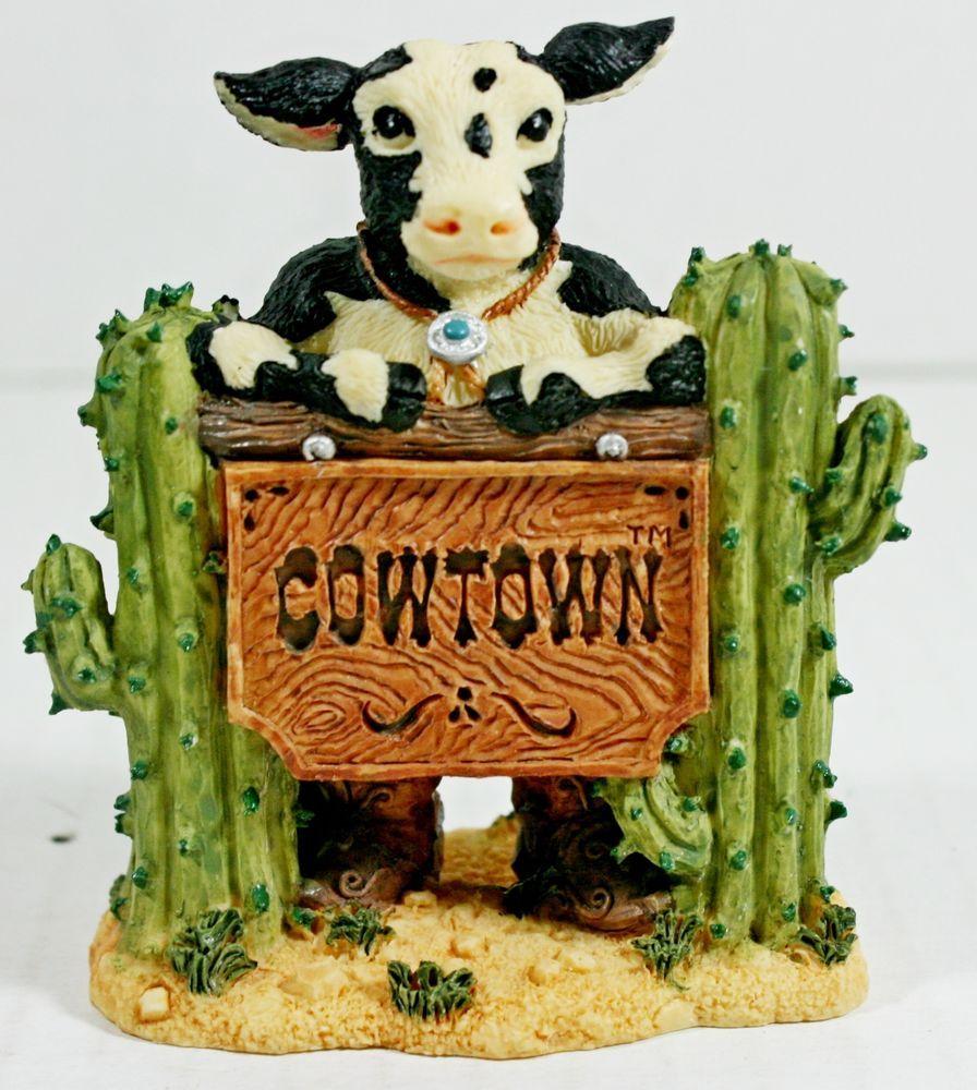 """1992 Ganz Cowtown Bull """"Bat"""" Masterson Cow Figurine Western Wild West Gunslinger"""