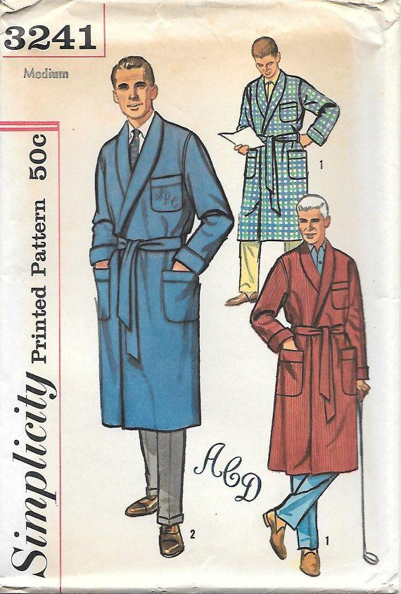 simplicity 3241 1960s mens robe smoking jacket uncut. Black Bedroom Furniture Sets. Home Design Ideas