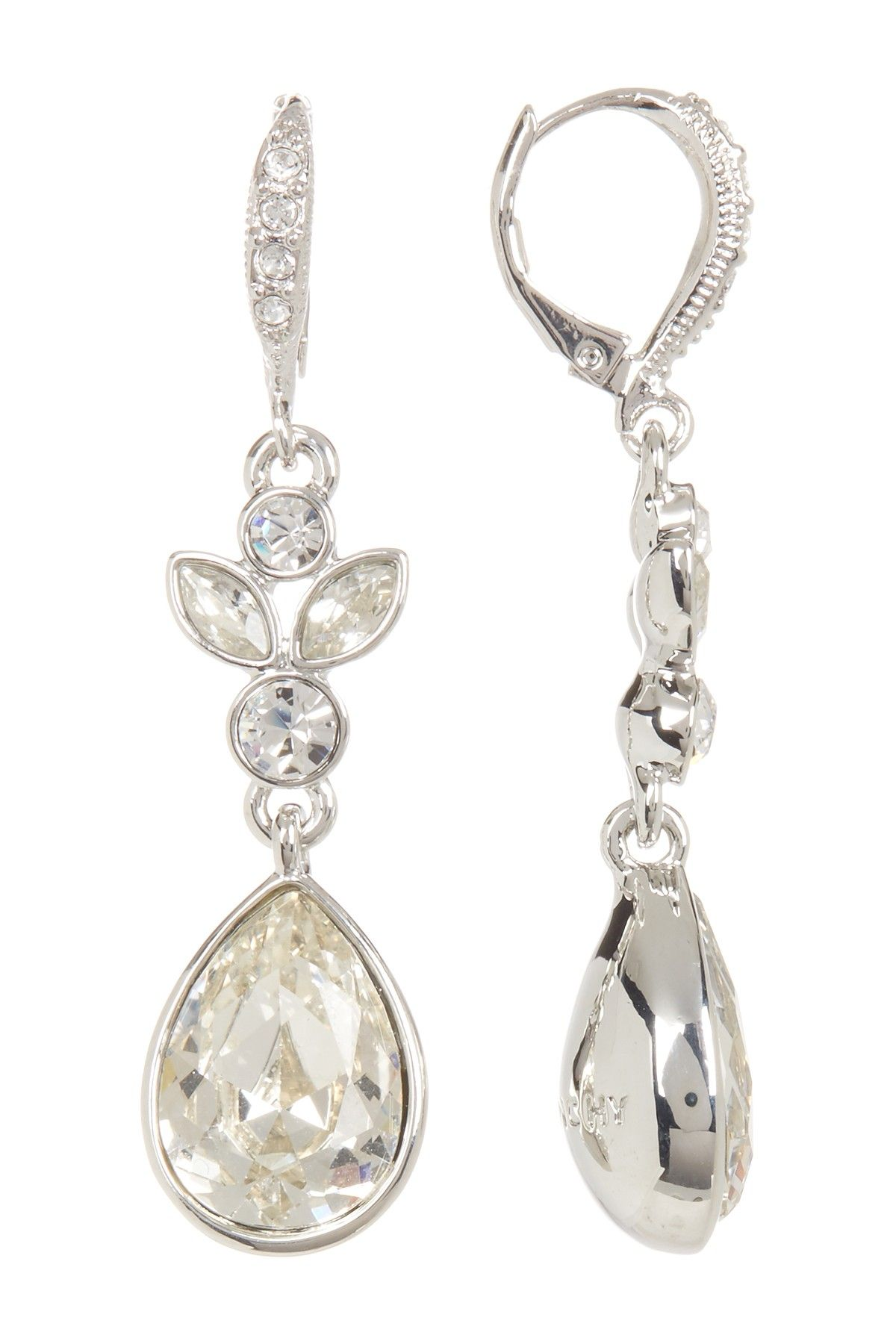 Round Marquise & Pear Crystal Drop Earrings