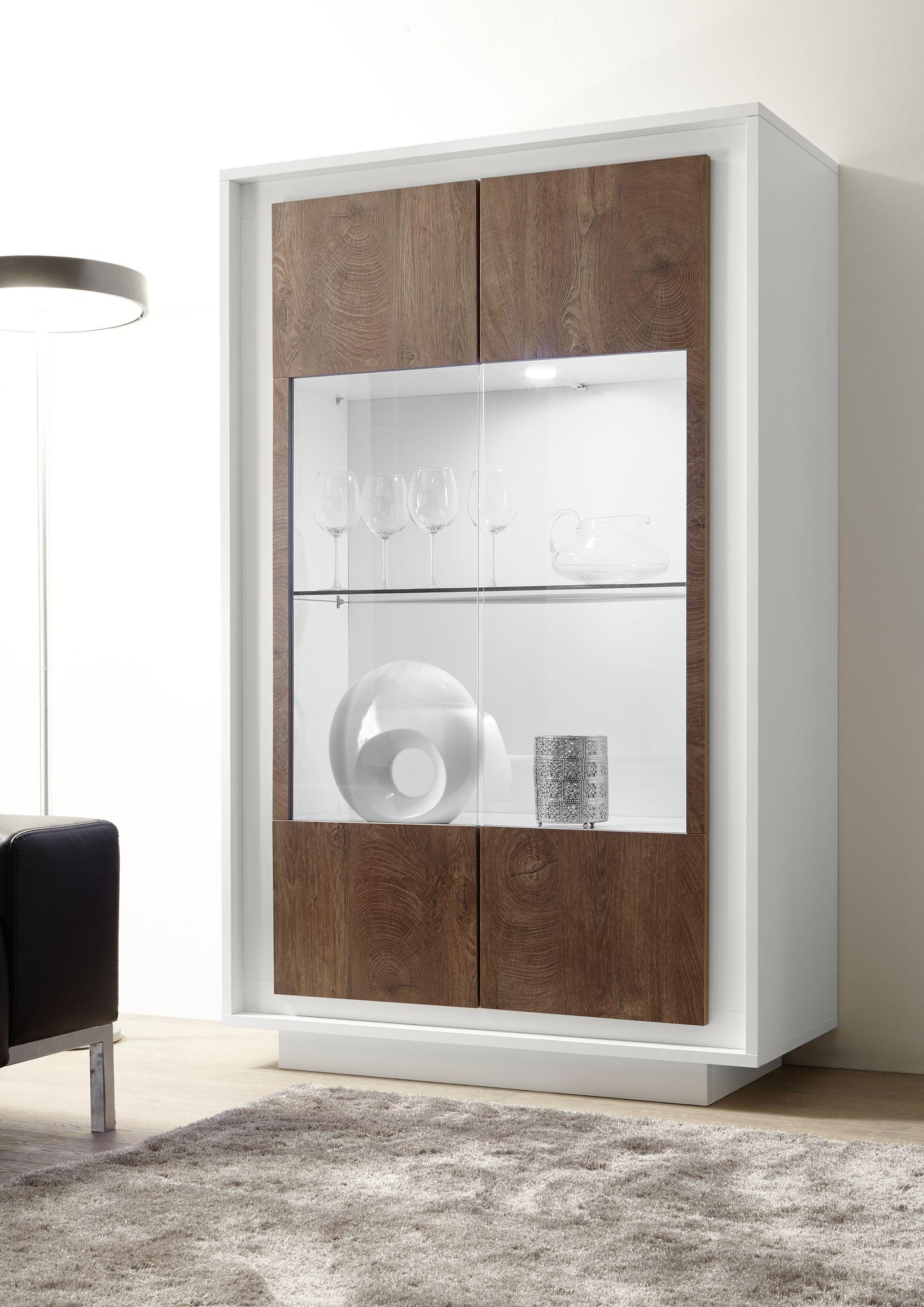 vetrina 2 ante bianco opaco e legno noce 390 00 € spedizione gratuita in tutta