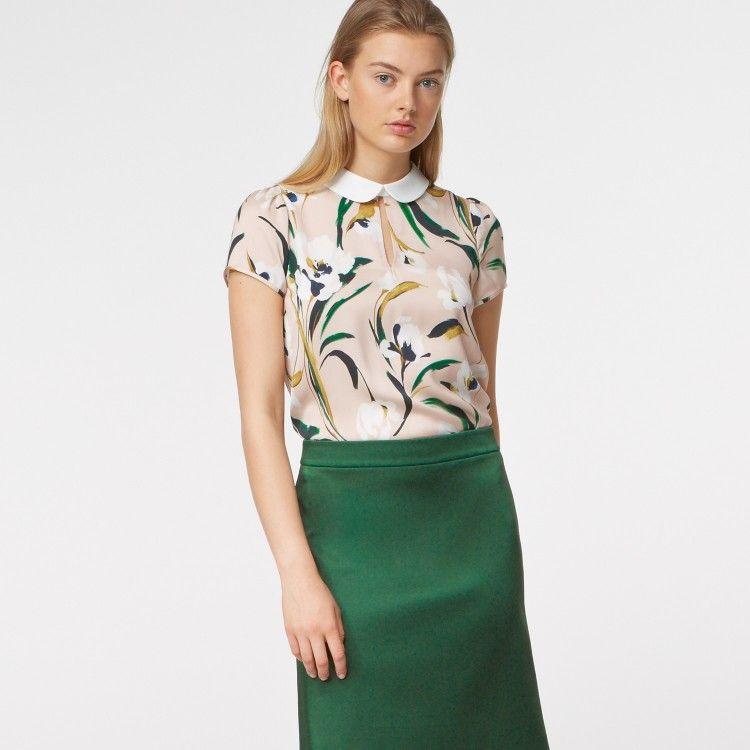 Bubikragen-Bluse mit Flower-Print #HALLHUBER | Mode / Fashion ...
