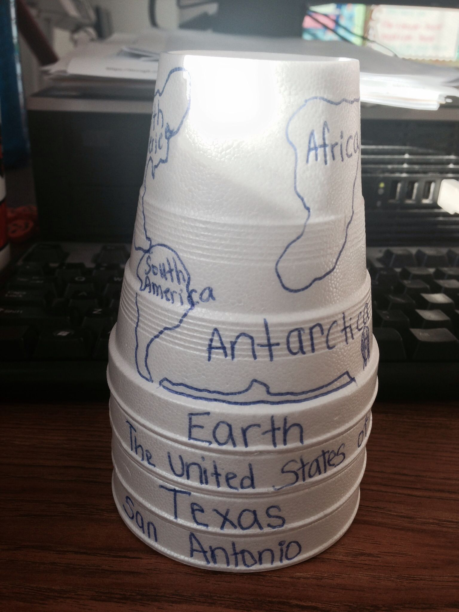 Idea: Social Studies community cups - students can visualize the microcosm of a city on the globe.