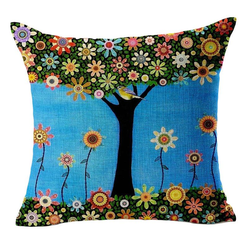 High Quality Car Printed Cotton Linen Blackout Curtain: Tree Cushion Covers Bed Car Printed Cotton Linen Sofa