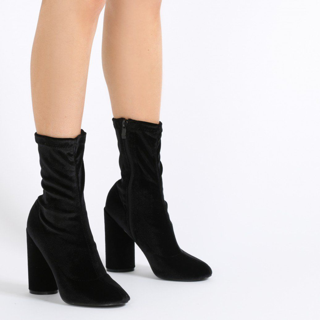 New Women's Knitted Boots Vamp and The Wind Socks Stripe Thick Heels Boots with Elastic Stockings Boots