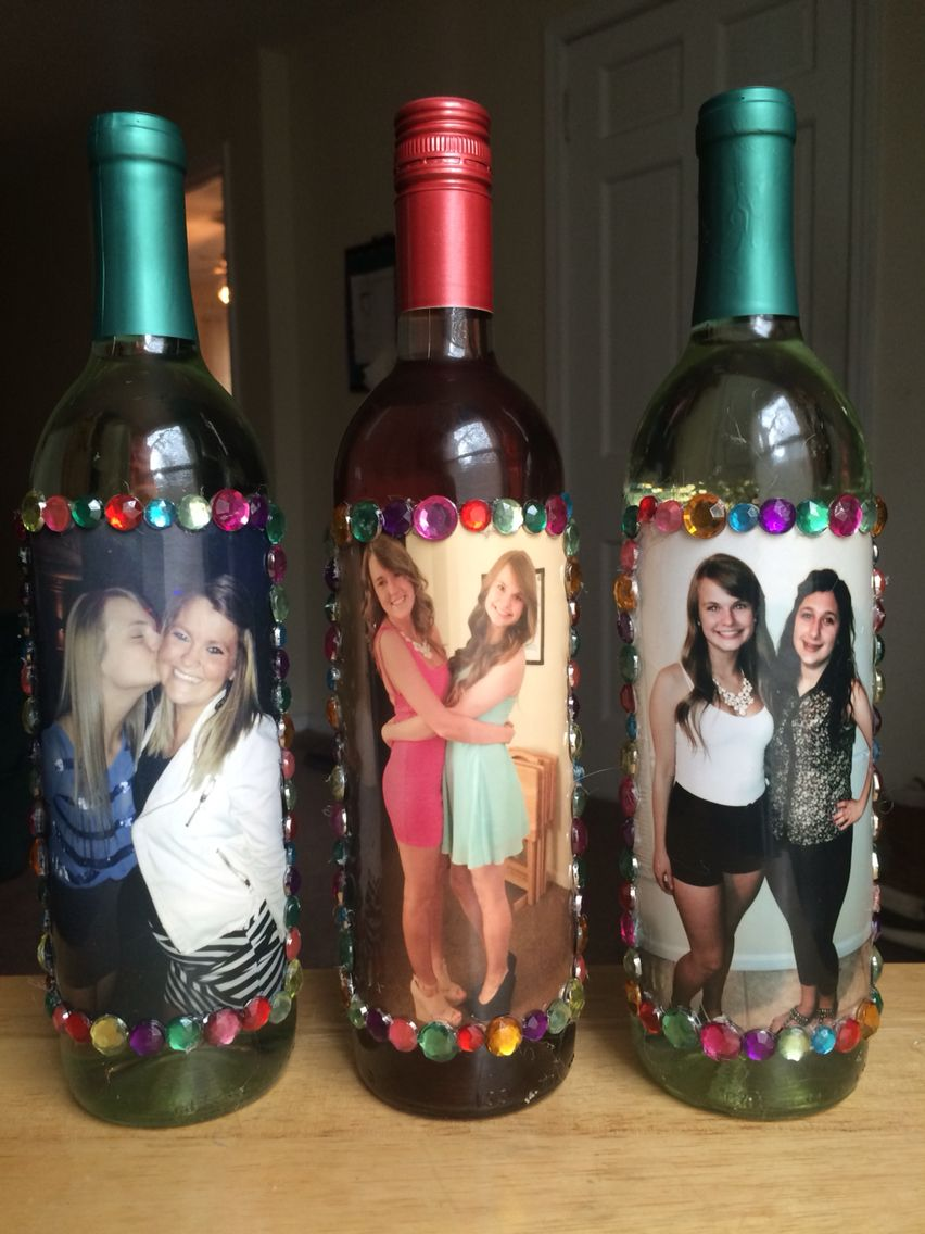 Christmas Gifts For Roommates.Decorated Photo Wine Bottle Roommate Gift Gift For Friends