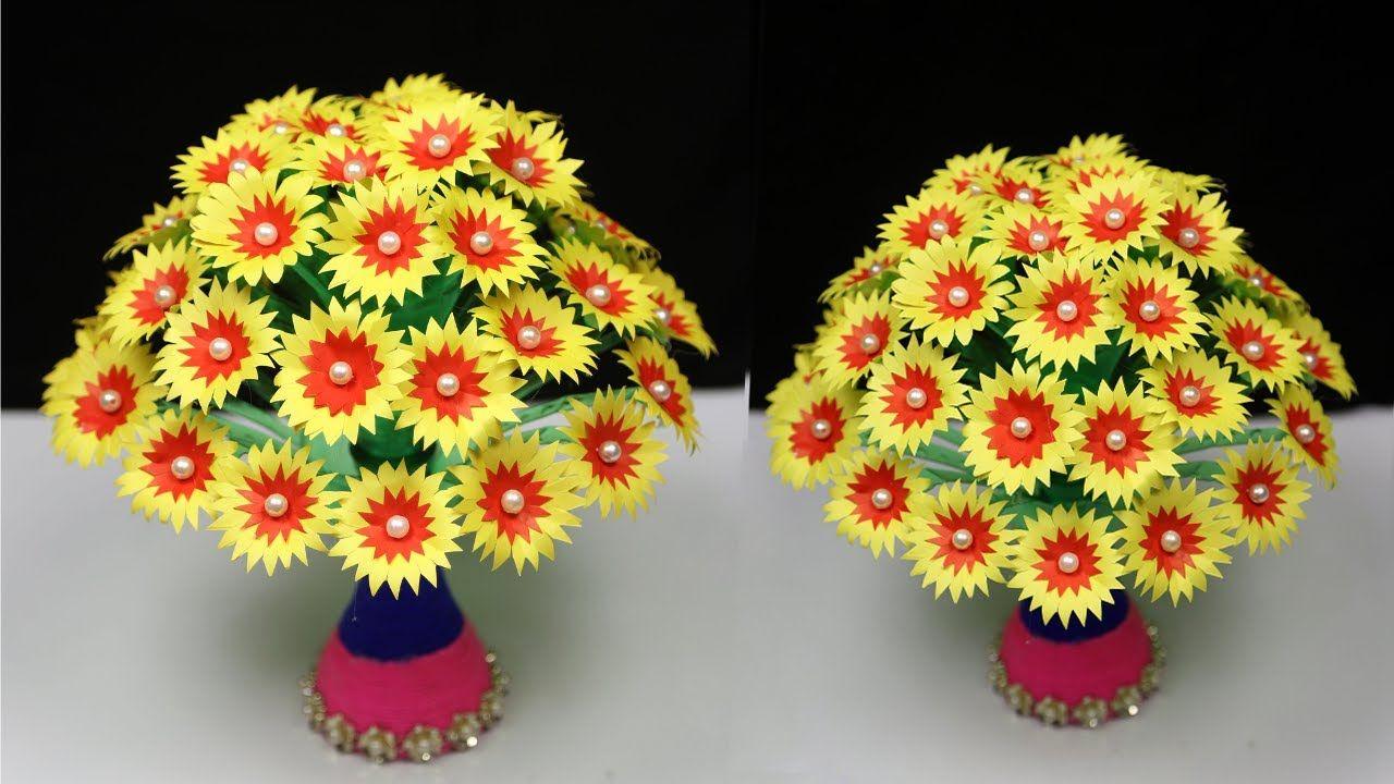 Diy Paper Flowers Guldasta Made With Empty Plastic Bottles Kagaj Ka Guld In 2020 Paper Flowers Diy Paper Flowers Flower Vase Diy