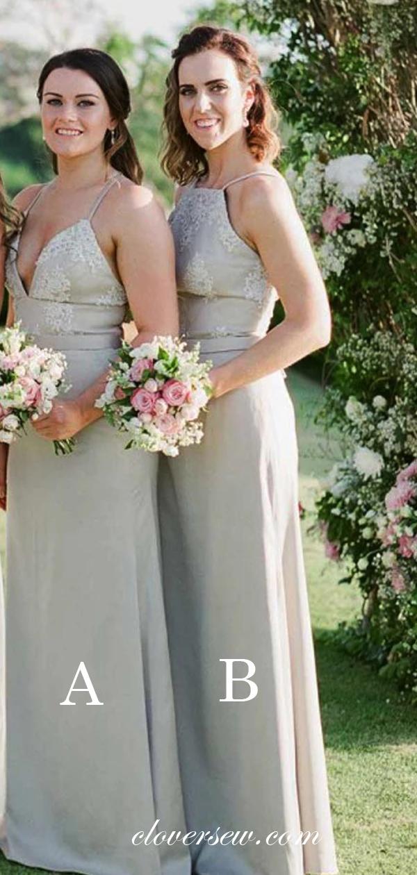 Grey Lace Chiffon Spaghetti Strap Mismatched Long Bridesmaid Dresses , CB0016 #lacechiffon