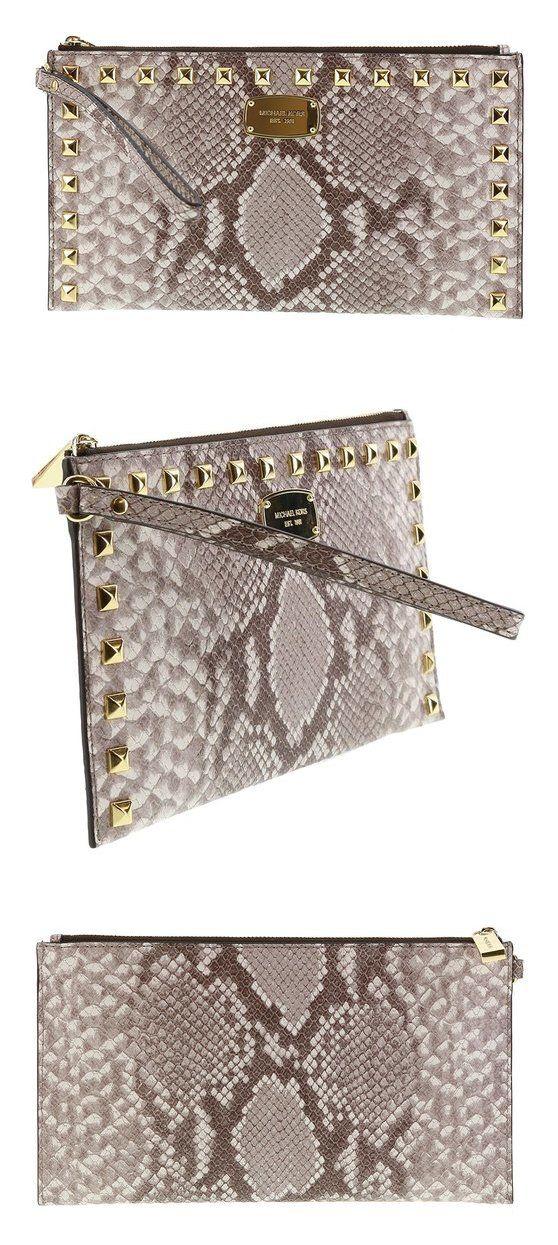 312ca3bf8d73 italy 99 michael kors saffiano embossed leather studded zip clutch wristlet  handbag dark sand michaelkors 46a51