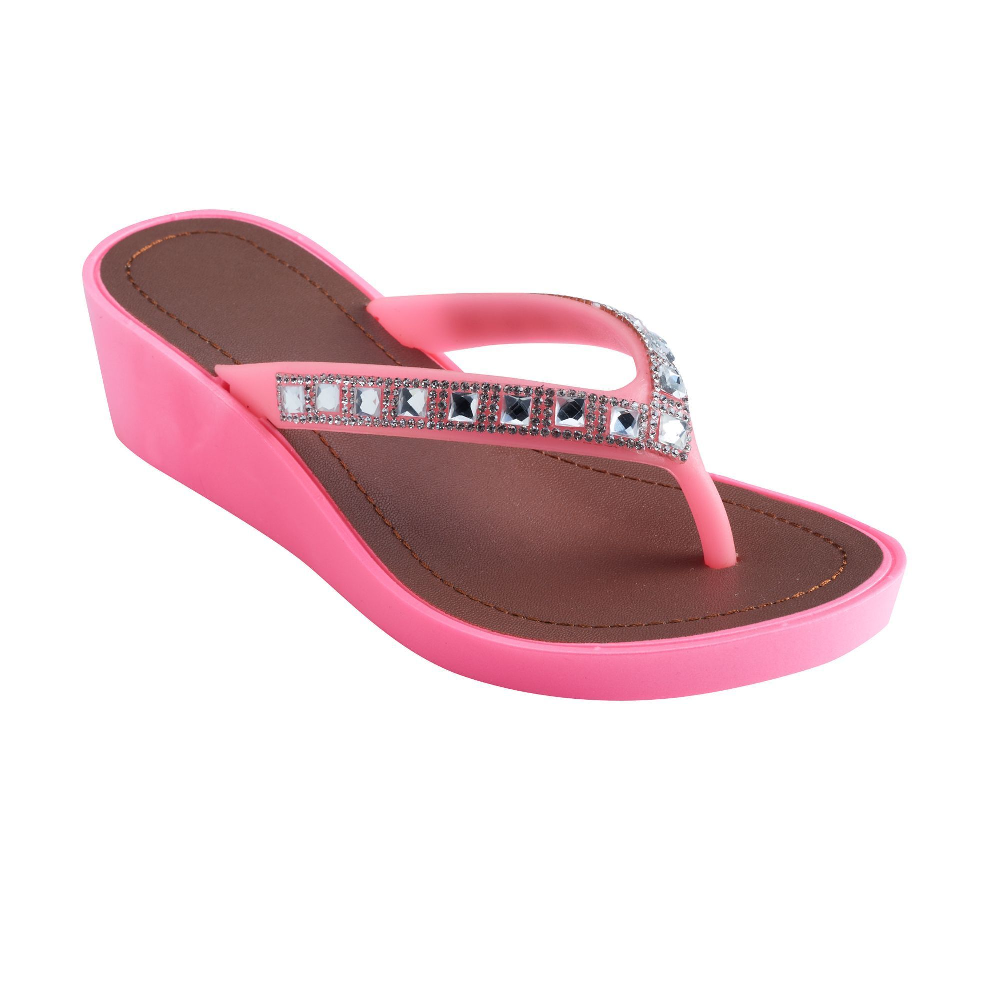 6ea1bf46402 Girls 4-16 Natural Wedge Flip Flops