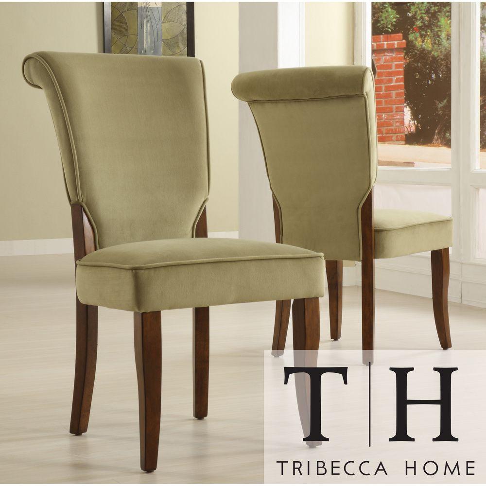 Andorra Sage Velvet Upholstered Dining Chair Set Of 2 By Inspire