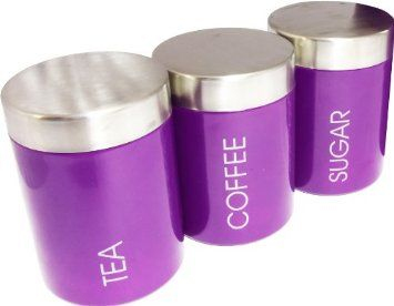 Set of 3 Purple Tea Coffee Sugar Storage Canisters Kitchen ...