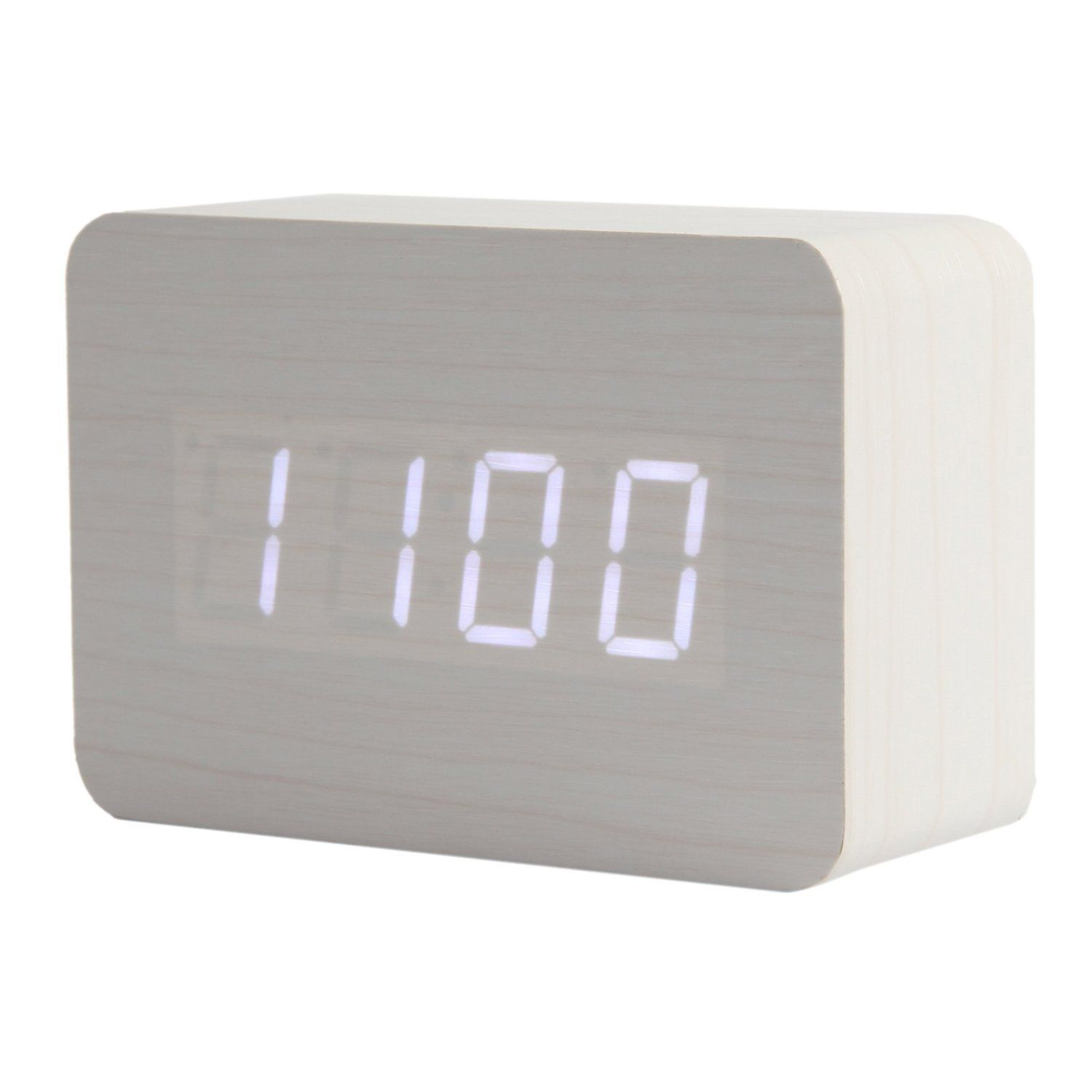 digital office clocks. KABB Light Brown Wood Grain LED Alarm Clock - Shows Time And Temperature Good Digital Office Clocks G