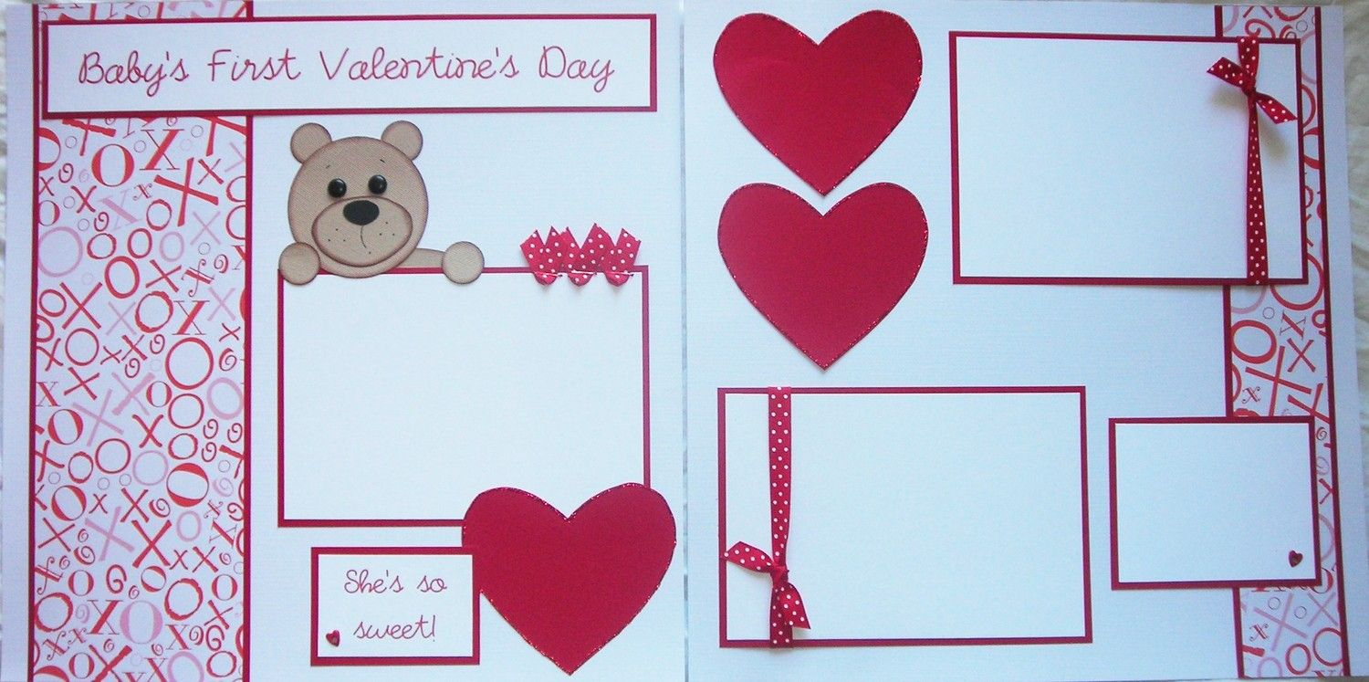 Baby girl scrapbook ideas - Baby S First Valentines Day 12x12 Premade Scrapbook Pages Boy Girl