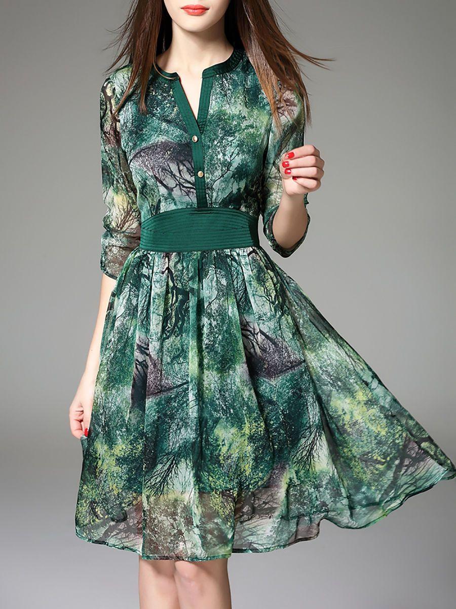 f1e566e4fc Printed 3 4 Sleeve Midi Dress VEINFUNS - stylewe.com