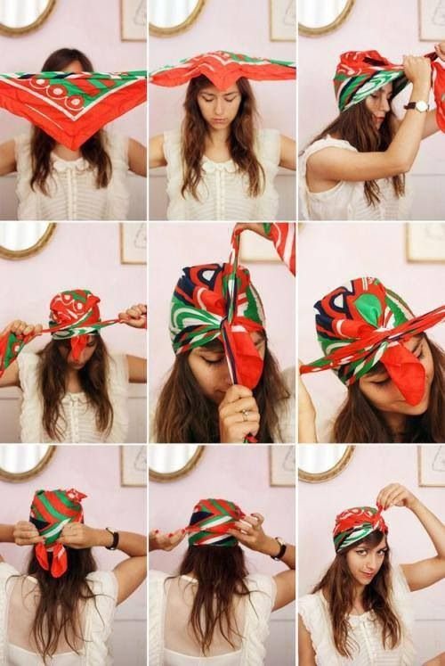 dc0932723433 How to tie a Turban Scarf Headband | Head Coverings | Hair styles ...