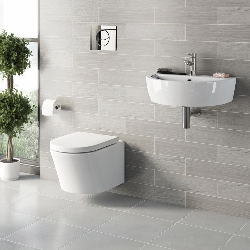 Mode Tate Cloakroom Suite With Contemporary Wall Hung Basin 550mm In 2020 Wall Hung Toilet Cloakroom Suites Modern Bathrooms Interior