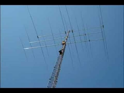 Paul's big beams go up on a 130 ft  tower - YouTube  | Yagi Antennas