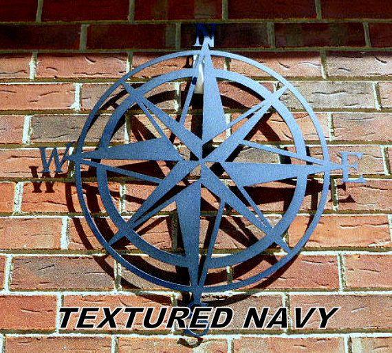Outdoor Wall Art Metal compass wall decor, nautical compass,wall art, nautical metal wall