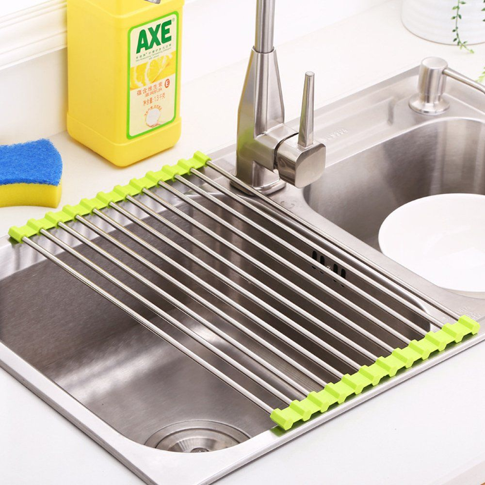 Roll Up Dish Drying Rack Stainless Steel And Silicone Dish Drying Mat Over The Sink Foldable Drain Racks Green Dis Dish Rack Drying Drying Rack Dish Drying Mat