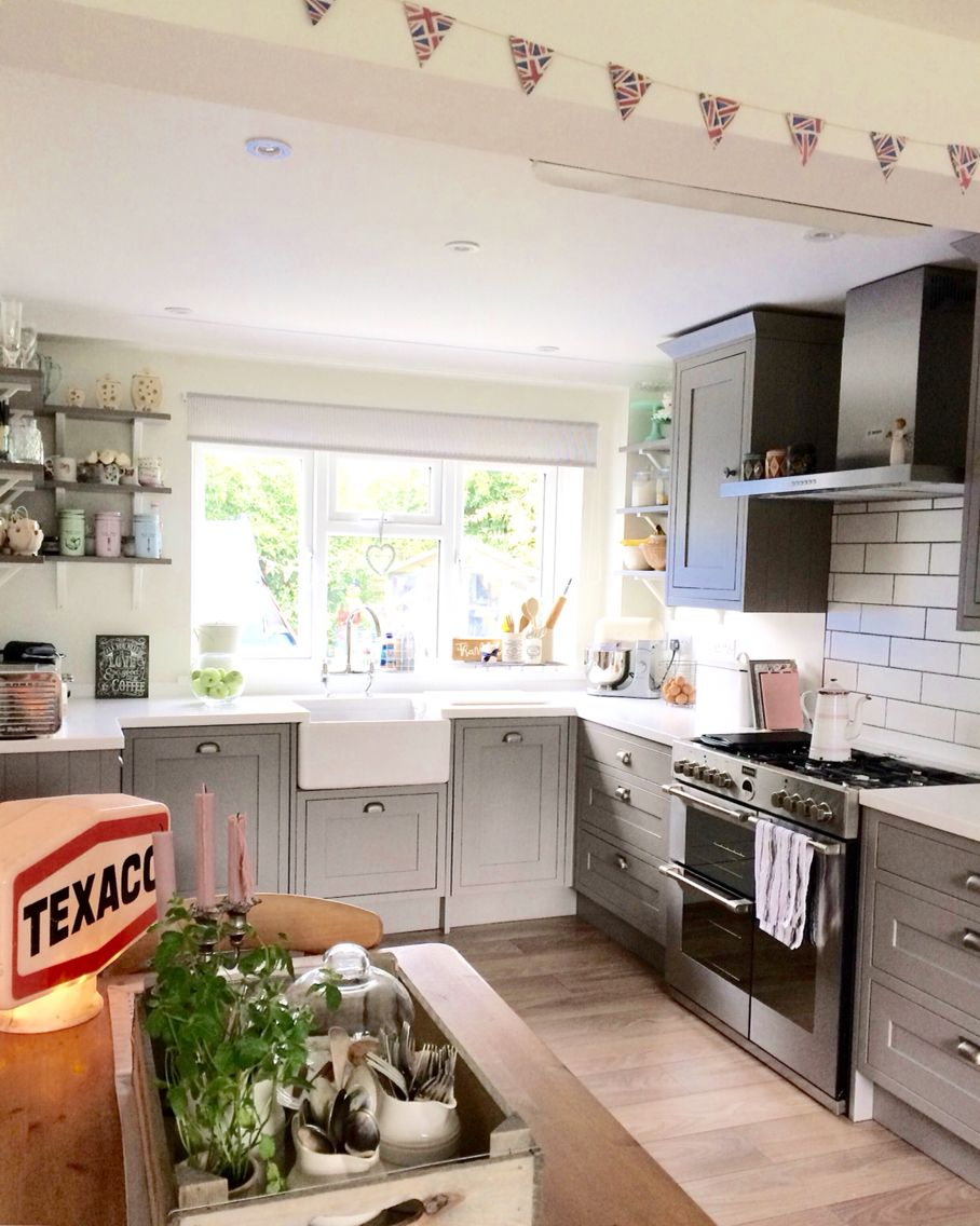 B&q Kitchen B Q Carisbrooke Framed Taupe With Bespoke Shelving Kitchen