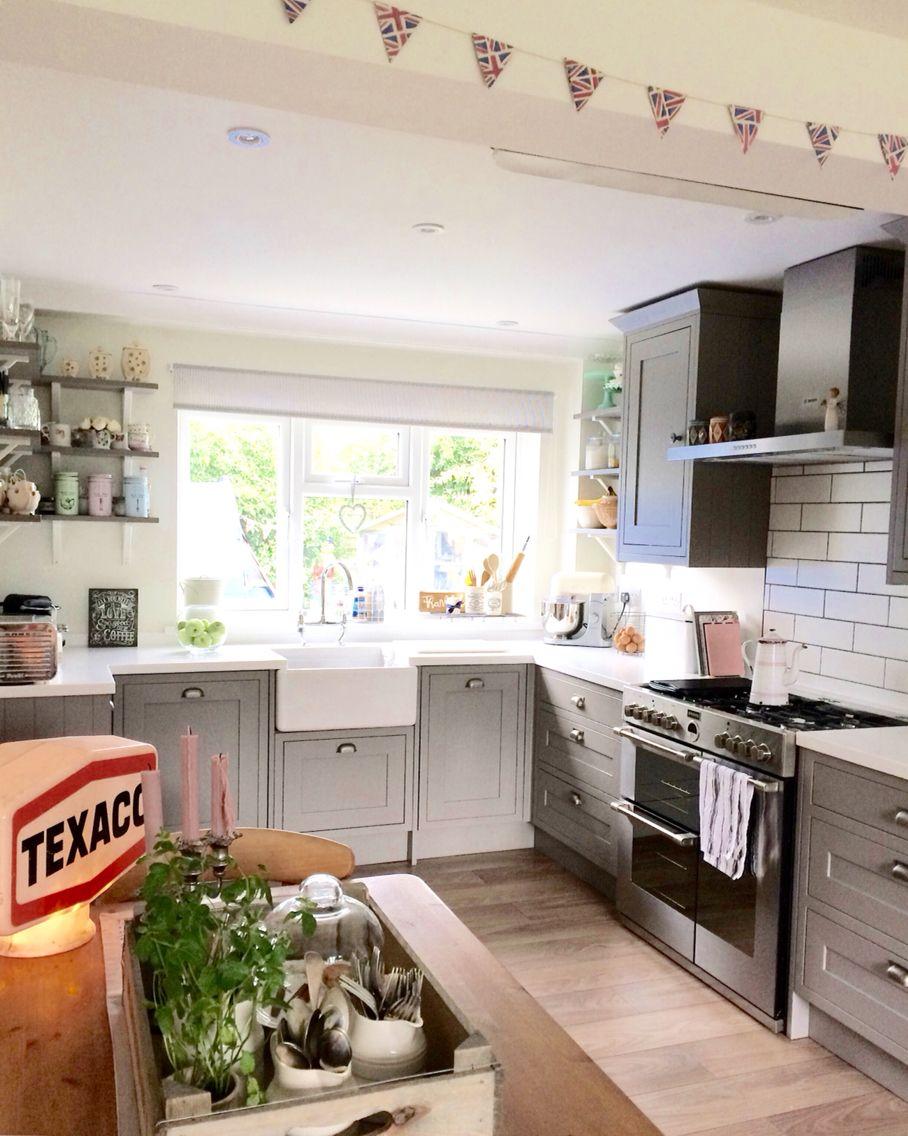 B Q Carisbrooke Framed Taupe With Bespoke Shelving Taupe Kitchen Kitchen Interior Inspiration Kitchen Layout