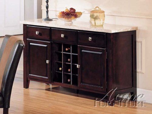 Server Sideboard With Marble Top And Wine Rack In Espresso Finish Dining Kitchen Sideboards