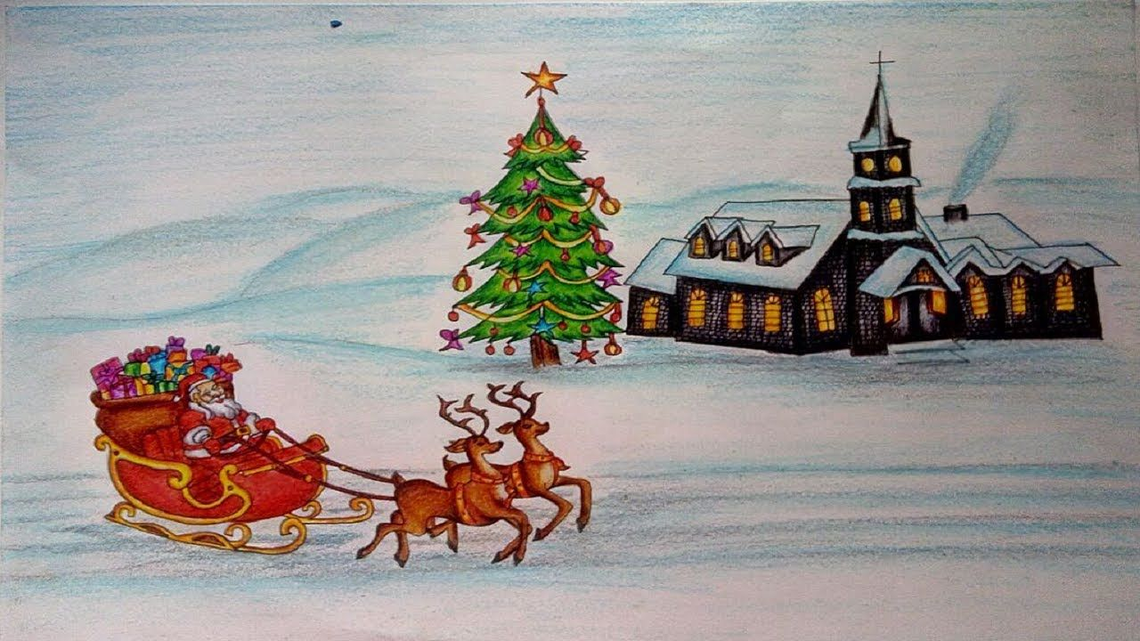 christmas Drawings - How To Draw a Christmas Scene Step by Step    christmas tree drawing ...