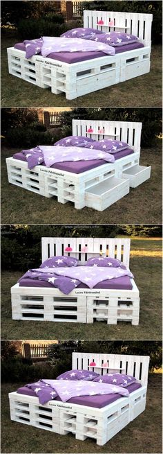 Giant Recycled Pallets Bed with Storage | Dormitorios/recámaras ...