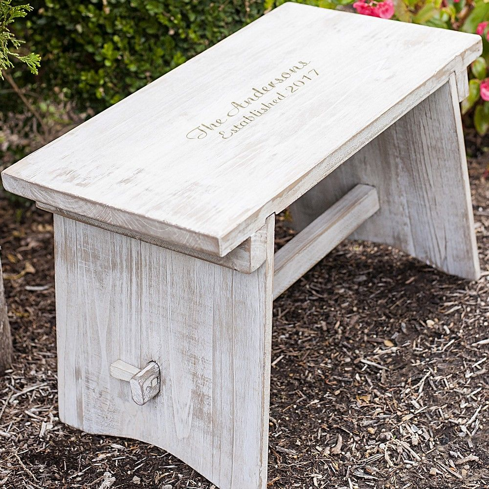 Decorative step stool personalized with 2 lines of custom print in garden