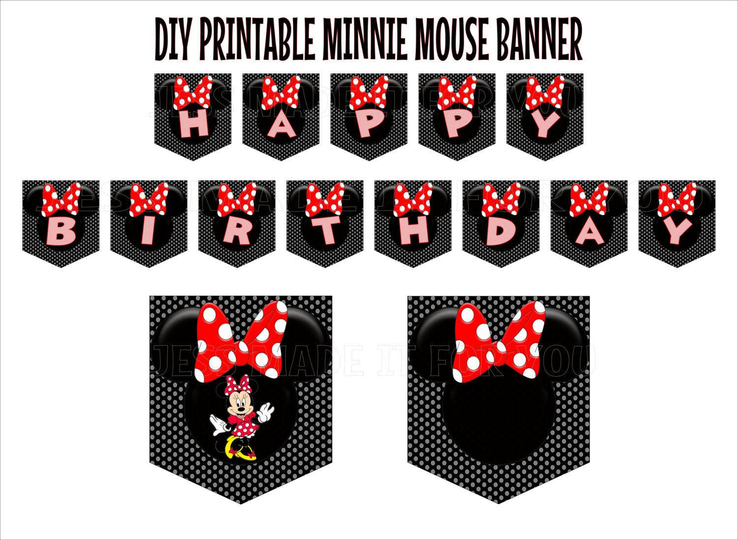 Minnie Mouse Red with Black and White Polka Dot Background ...