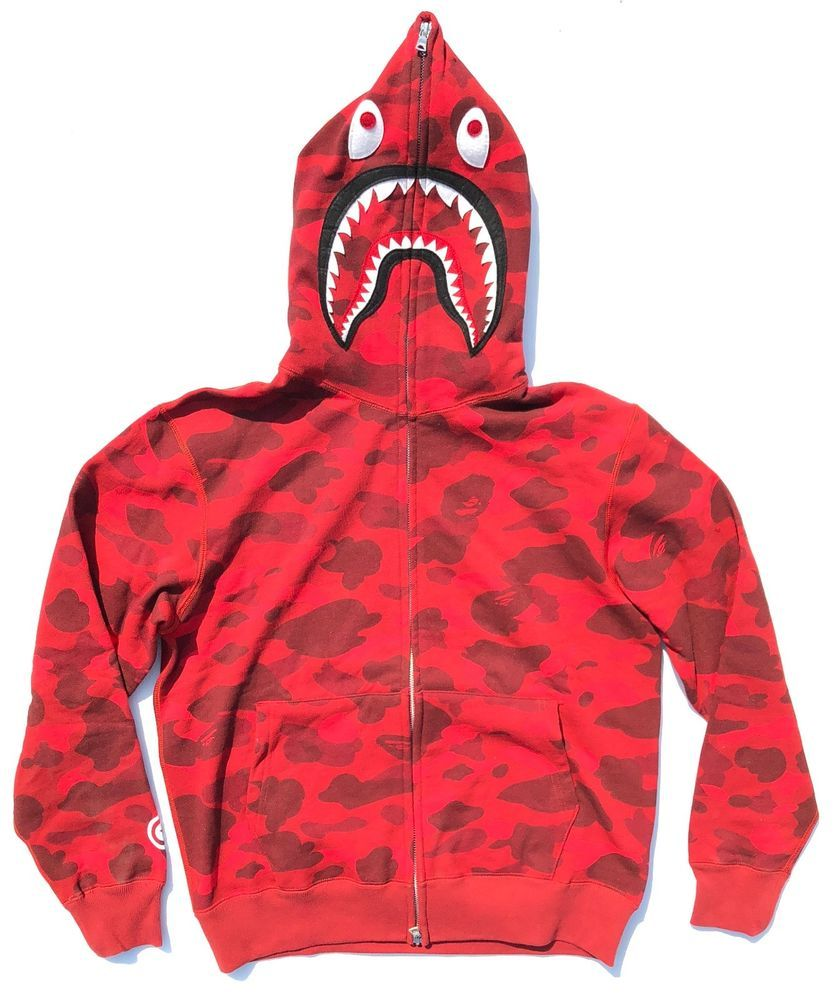 950c9ef8c4bb A Bathing Ape Shark Red Camo Bape Hoodie Sweatshirt (eBay Link ...