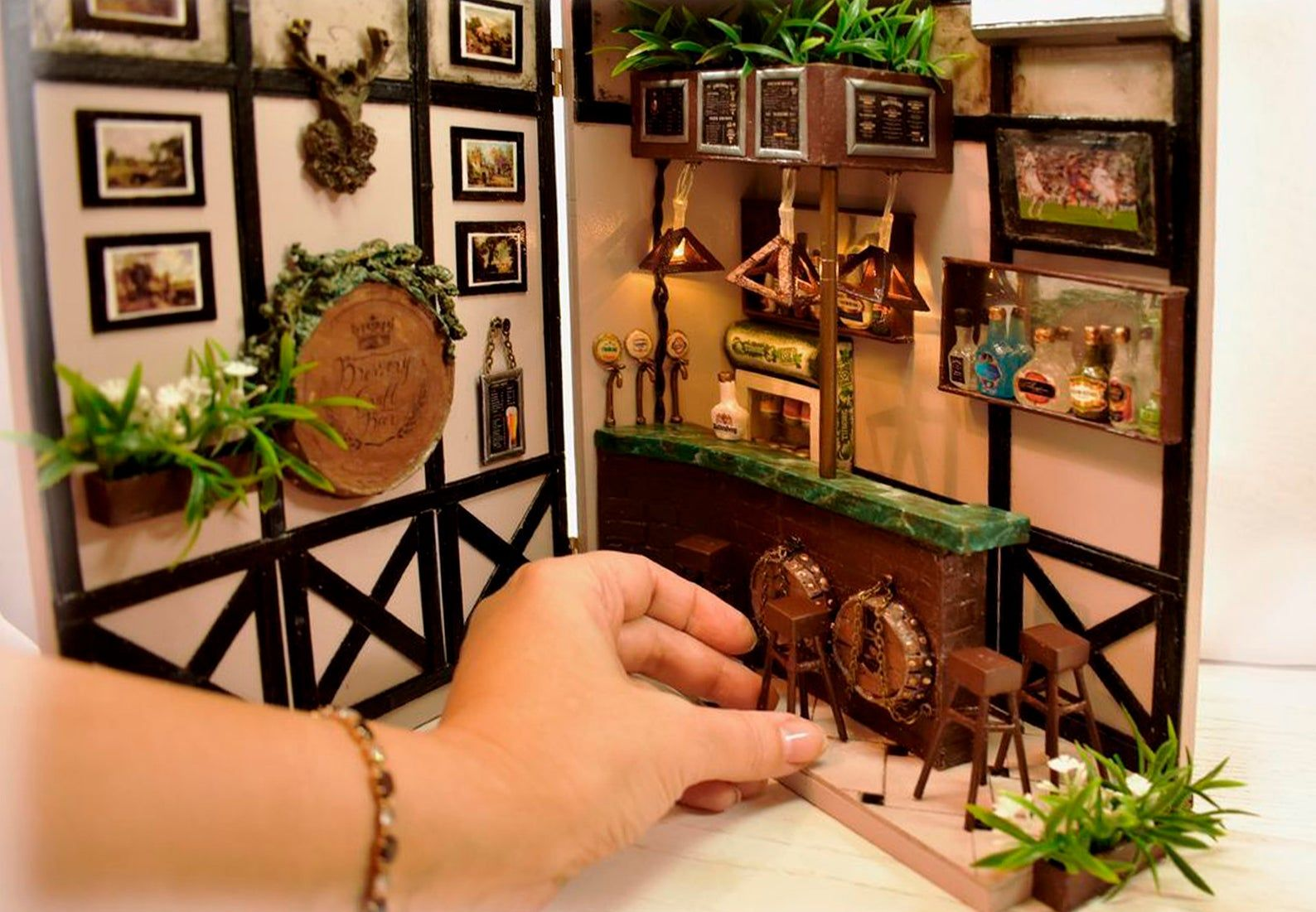 Bookshelf art book nook miniature beerbar miniature art