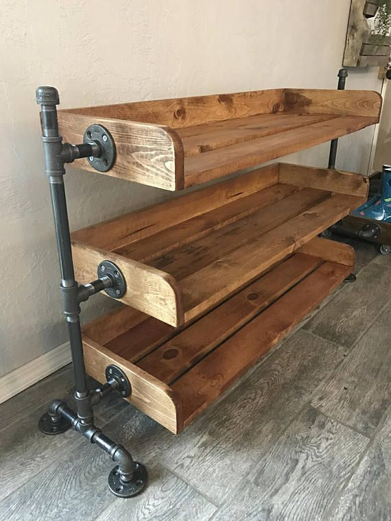 Beau Handcrafted, Industrial Pipe Shoe Rack. This Shoe Rack Is Assembled With Black  Steel Pipe And Wood. The Wood On It Has Been Sanded Until Smooth, ...