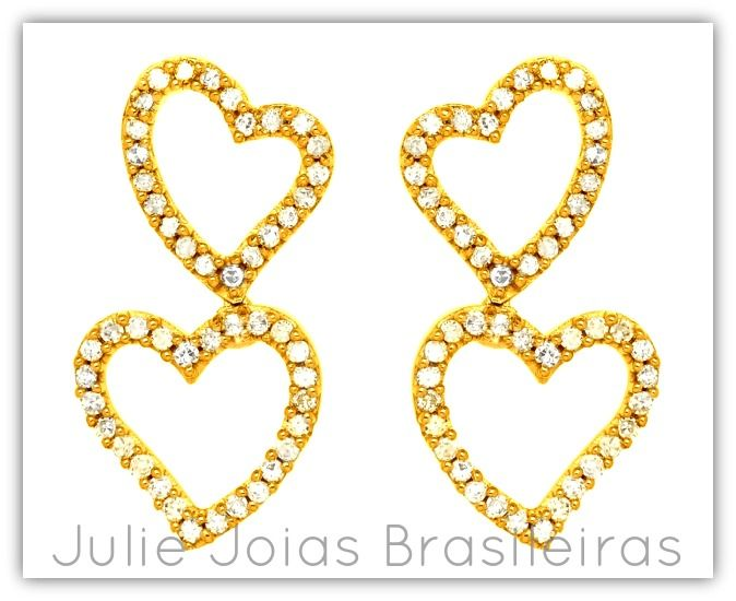 Brincos em ouro 750/18k e diamante (750/18k gold dangling earrings with diamond)