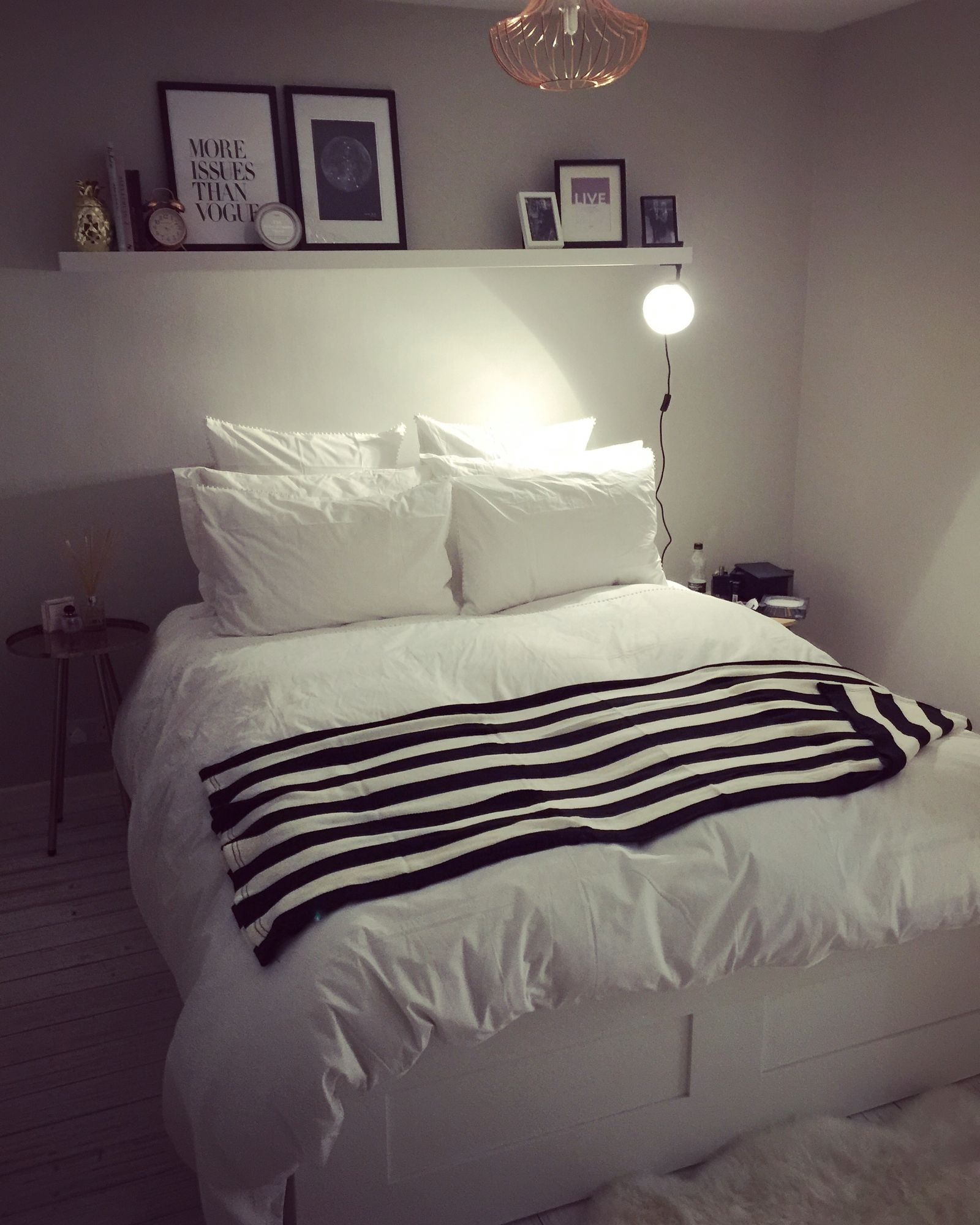 Our Bedroom Black White And Grey With Floating Shelf With