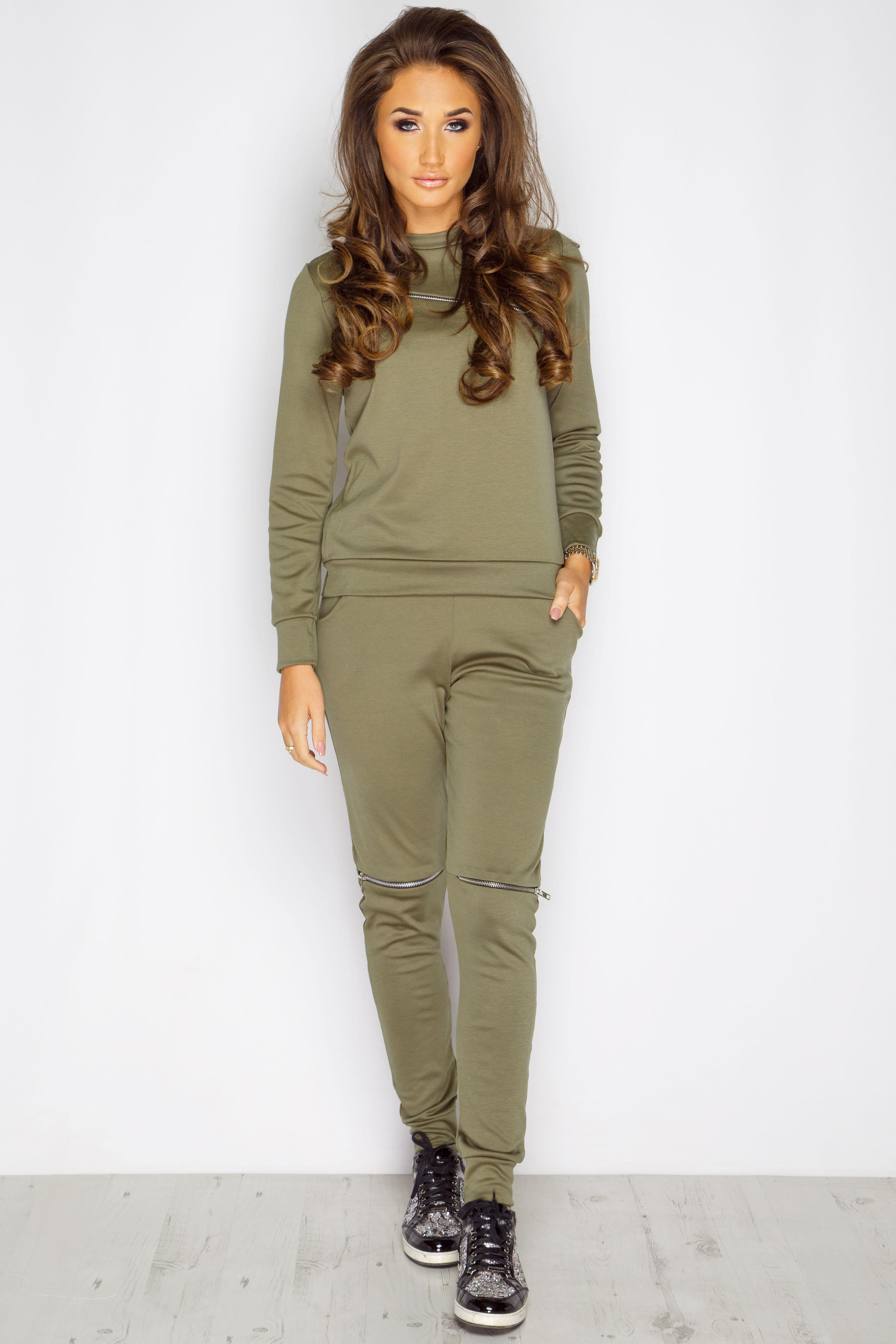 3fe980f450 Megan Mckenna Khaki Zip Loungewear Set at misspap.co.uk