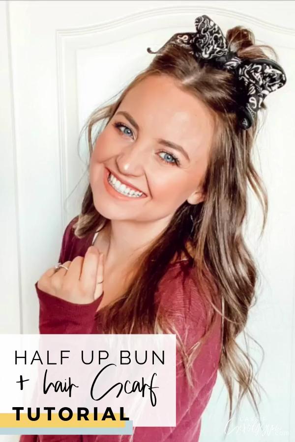 Half Up Half Down Hair Scarf Bun Tutorial