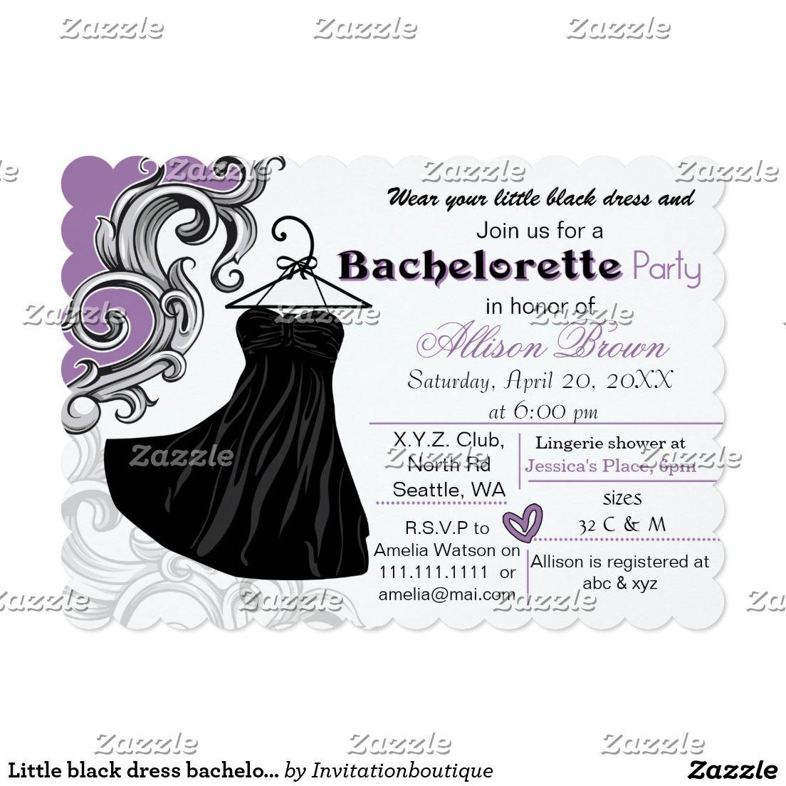 Little black dress bachelorette party invite | Bachelorette party ...