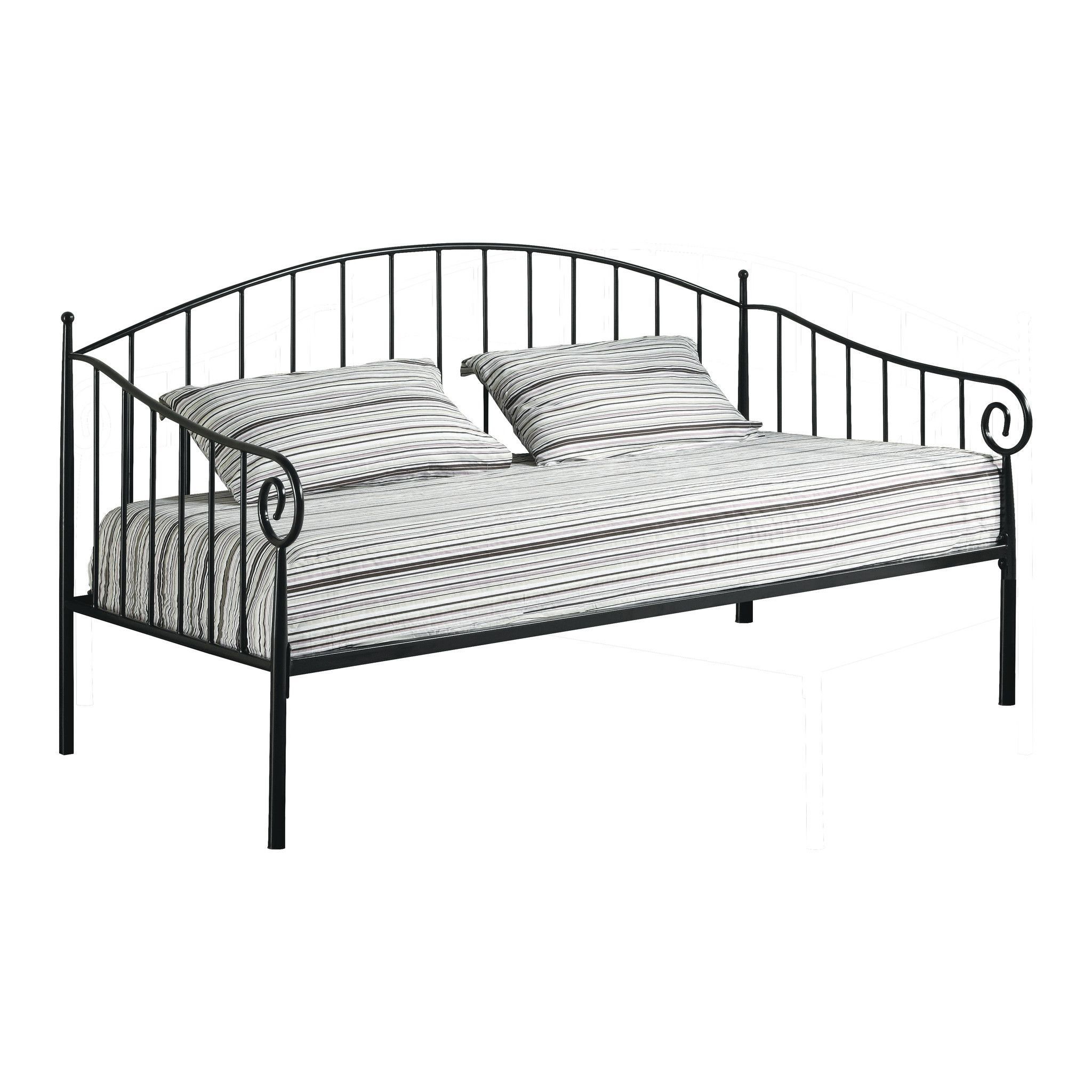Pilaster Designs - Matt Black Metal Twin Size Day Bed (Daybed) Frame ...