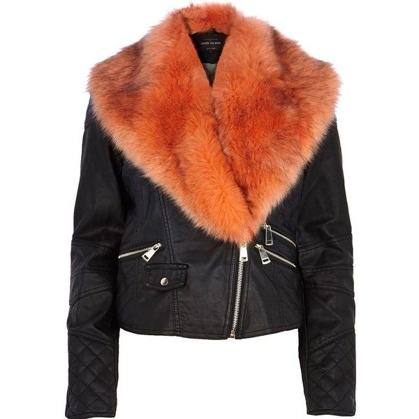River Island Black faux fur collar biker jacket ($50) ❤ liked on Polyvore featuring outerwear, jackets, coats, black, coats & jackets, tops, sale, river island, moto zip jacket and faux fur collar jacket