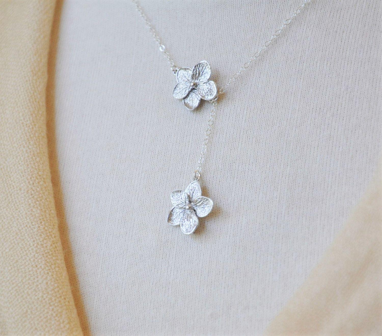 Silver Plumeria Lariat Necklace Plumeria Necklace Plumeria