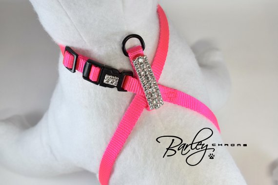 50fad3a2e8f243 Hot Pink Elegance Rhinestone Adjustable Figure 8 Harness Puppy Dog Cat Pet  - 3 Row Preciosa® Crystal